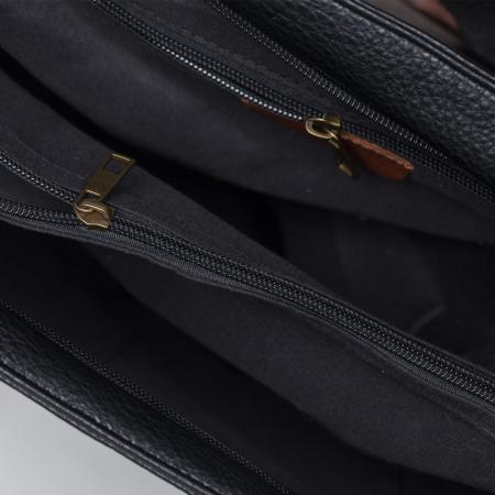 Geanta neagra tip rucsac 2 in 1 cu doua fermoare pe fata din piele ecologica [2]