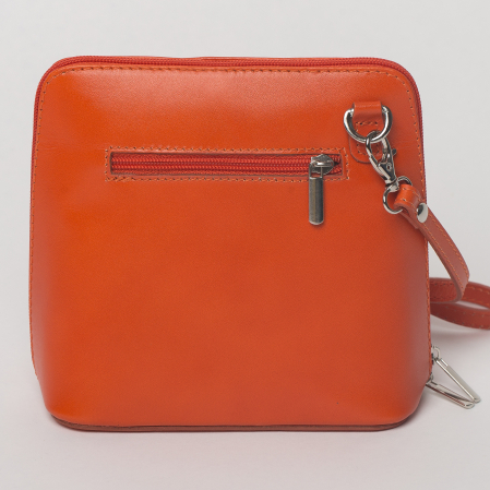 Geanta crossbody, portocalie, din piele naturala1