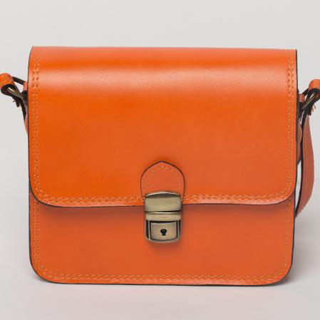 Geanta portocalie din piele tip postas0
