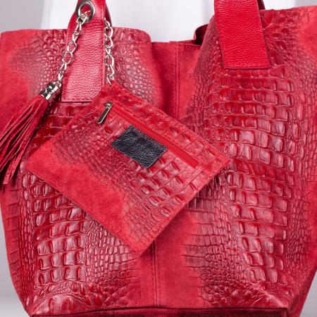Geanta shopper rosie din piele intoarsa naturala [1]
