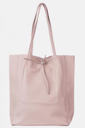 Geanta shopper roz prafuit din piele naturala [0]
