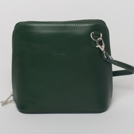 Geanta crossbody, verde inchis, din piele naturala0