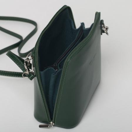 Geanta crossbody, verde inchis, din piele naturala2