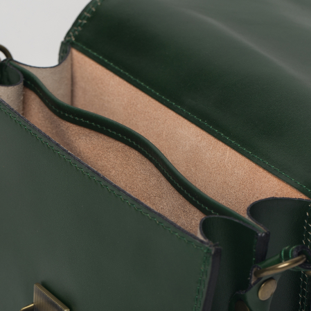 Geanta crossbody verde inchis din piele naturala, tip postas [2]