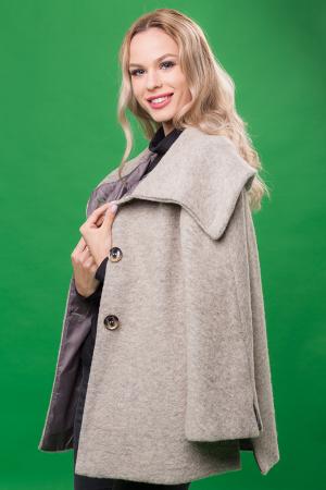 Haina gri deschis scurta lana cu guler inalt1