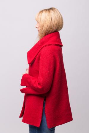 Haina rosie scurta lana cu guler inalt2