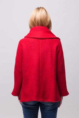 Haina rosie scurta lana cu guler inalt3