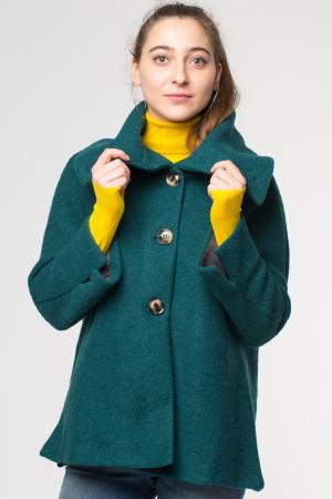 Haina verde smarald scurta lana cu guler inalt0