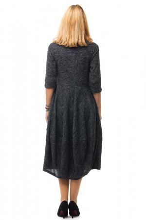Rochie midi lalea din lana, gri inchis2