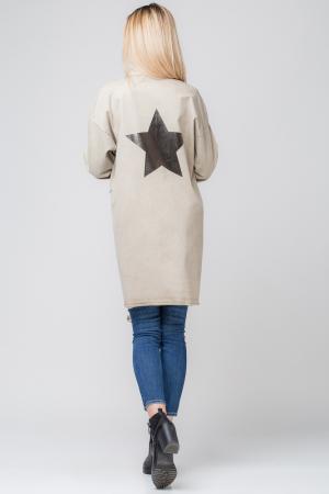 Jacheta bej inchis in colturi cu imprimeu stea pe spate2