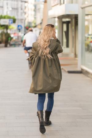 Jacheta kaki din bumbac cu gluga [5]