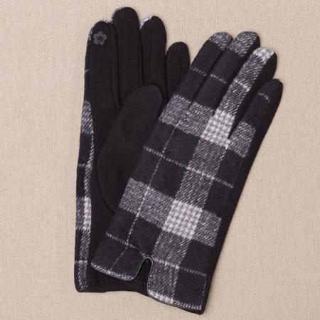 Manusi dama,  textil cu fata ecosez predominant negru0