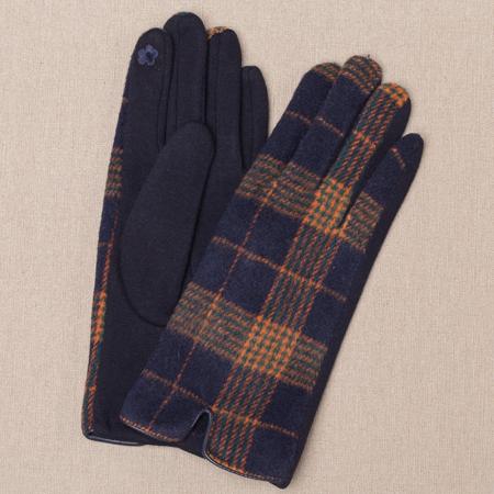 Manusi dama,  textil cu fata ecosez predominant bleumarine [0]