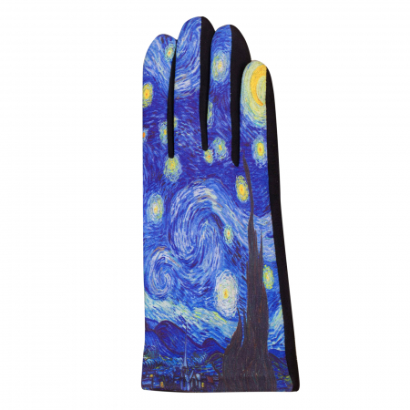 "Manusi dama, textil cu imprimeu inspirat dupa ""Noaptea Instelata' a lui Van Gogh [1]"