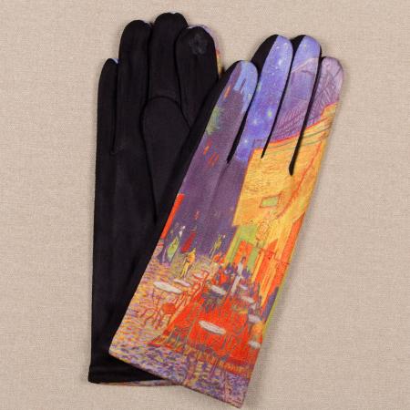 Manusi dama, textil cu imprimeu inspirat din pictura celebra [0]