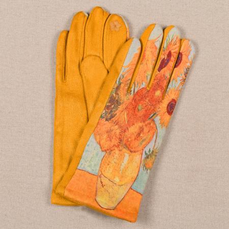 Manusi dama, textil cu imprimeu inspirat din pictura celebra0