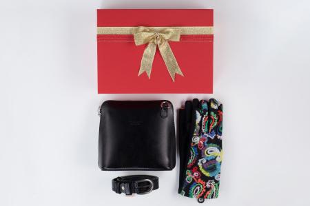 Pachet cadou geanta si curea din piele naturala, manusi -20