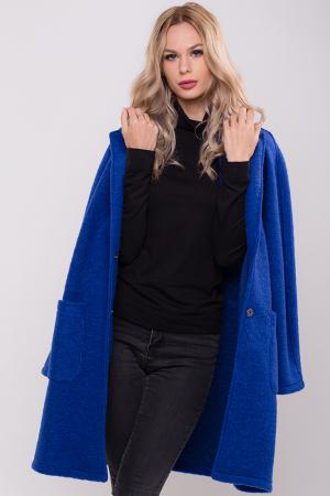 Palton albastru midi din lana naturala1