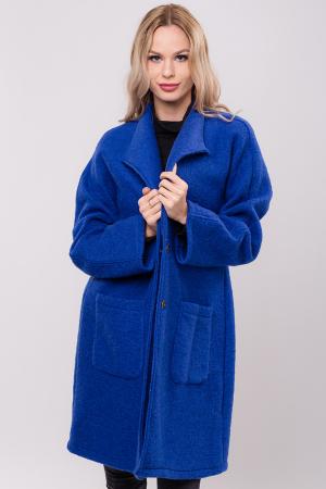 Palton albastru midi din lana naturala0