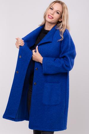 Palton albastru midi din lana naturala2