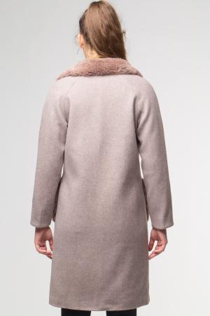 Palton bej din stofa cu buzunare din blana artificiala [3]