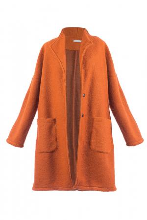 Palton caramiziu midi din lana naturala3