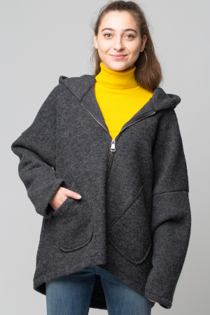 Palton gri lana oversize, cu gluga [1]