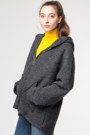 Palton gri lana oversize, cu gluga [2]