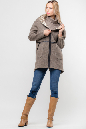 Palton lana bej cu gluga, cu interior animal print [0]