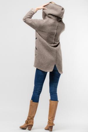 Palton lana bej cu gluga, cu interior animal print [2]