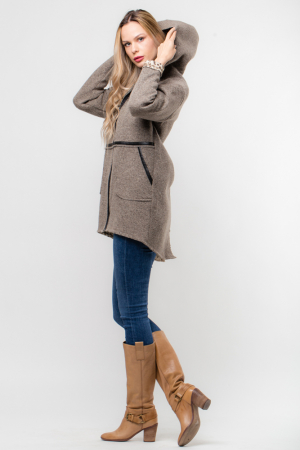 Palton lana bej cu gluga, cu interior animal print [1]