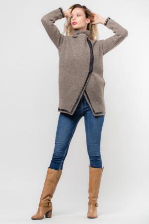 Palton lana bej, cu interior animal print1