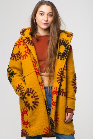 Palton captusit lana mustar cu model [0]