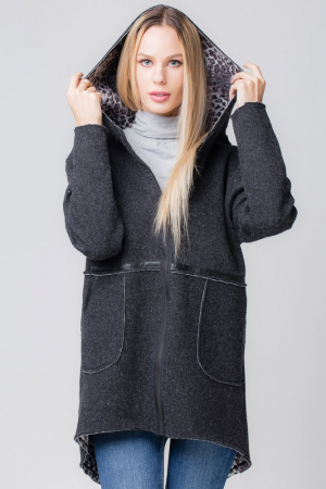 Palton lana negru cu gluga, cu interior animal print0