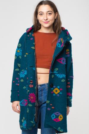 Palton captusit lana verde -turcoaz cu model floral0