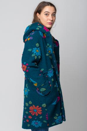 Palton captusit lana verde -turcoaz cu model floral2