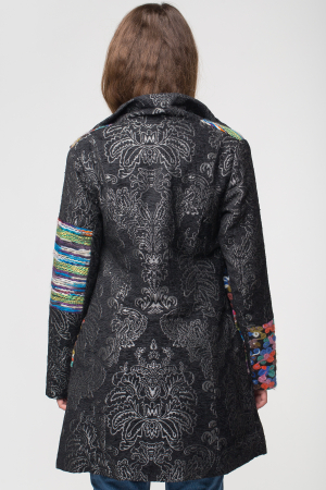 Palton negru cu broderie colorata si motive florale embosate [2]