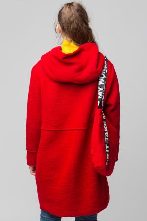 Palton rosu midi, din lana cu gluga si gentuta3