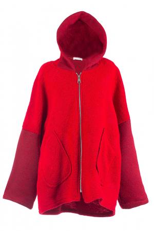 Palton rosu lana oversize, cu gluga [3]