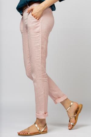 Pantaloni pana din in, roz [2]