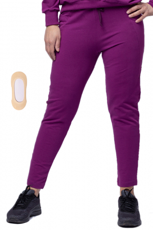 Pantaloni sport din bumbac cu buzunare laterale, din bumbac, mov [4]