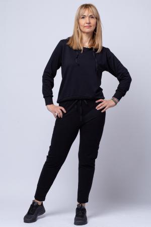 Pantaloni negri sport din vascoza cu buzunare laterale [0]