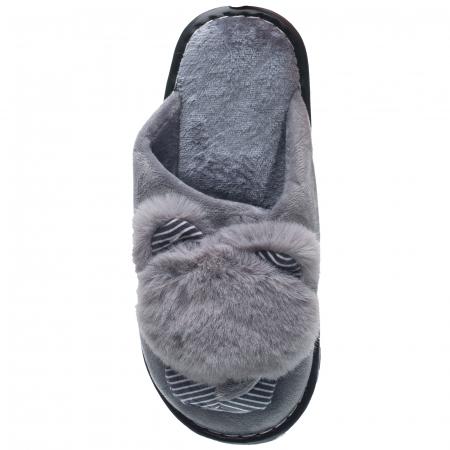 Papuci de casa gri cu decoratiune animalut [1]