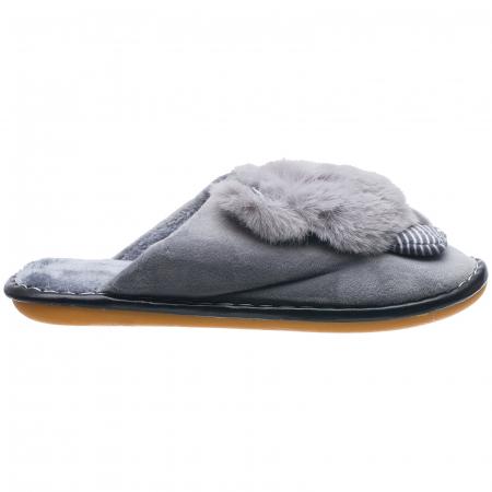 Papuci de casa gri cu decoratiune animalut [0]