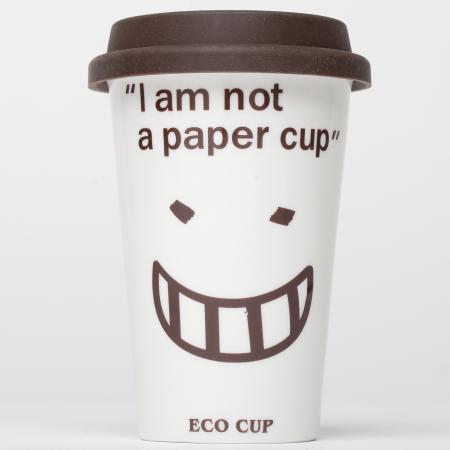 """Pahar alb reutilizabil """"I am not a paper cup""""0"""