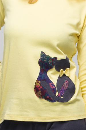 Pijama bumbac doua piese doua pisicute, galben-negru3