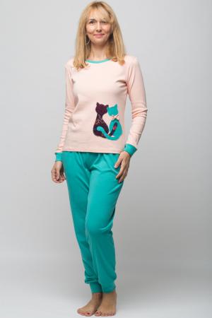 Pijama bumbac doua piese doua pisicute, roz-turcoaz0