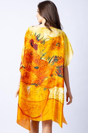 """Poncho din matase cu stilizare """"Floarea Soarelui"""" pe fond galben3"""