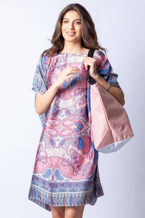 Poncho din matase cu imprimeu arabesque pe fond bleu - roz [7]