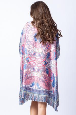 Poncho din matase cu imprimeu arabesque pe fond bleu - roz [3]